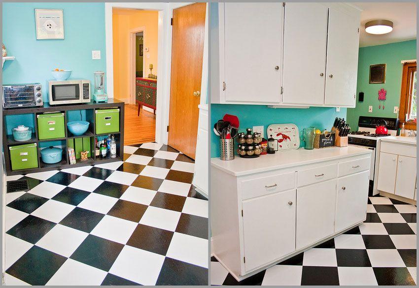 Checkerboard Floor Using Peel Stick Vinyl Tiles 100
