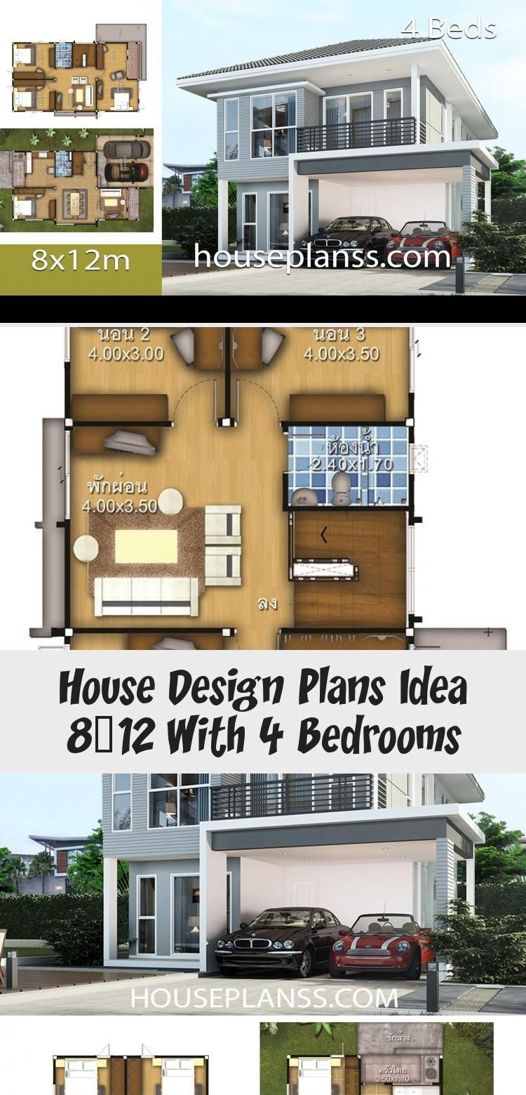 House Design Plans Idea 8x12 With 4 Bedrooms Home Ideassearch Floorplans4bedroomcapecod Farmhousefloorplans4bedroom F In 2020 Home Design Plans House Design House