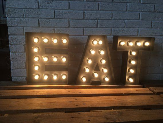 Custom Order For Large Metal Letter Light Up With Edison Bulbs For