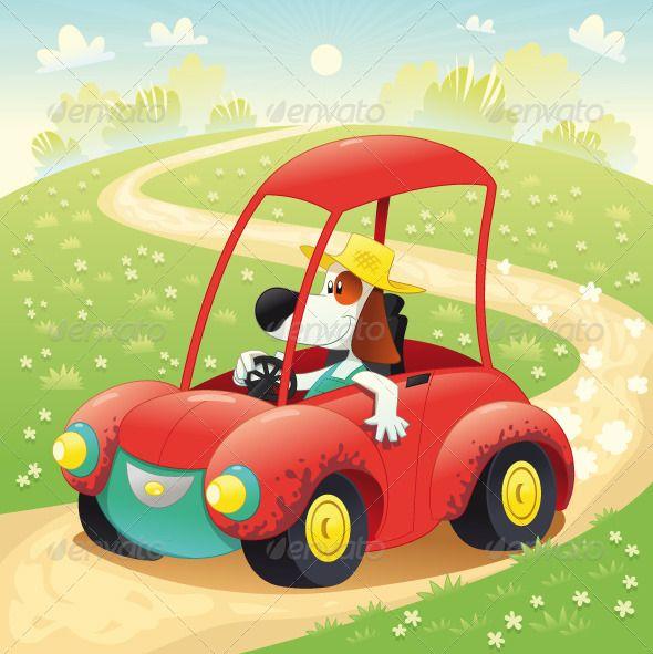 Funny Dog In A Car Avtomobil Illyustracii Illyustracii