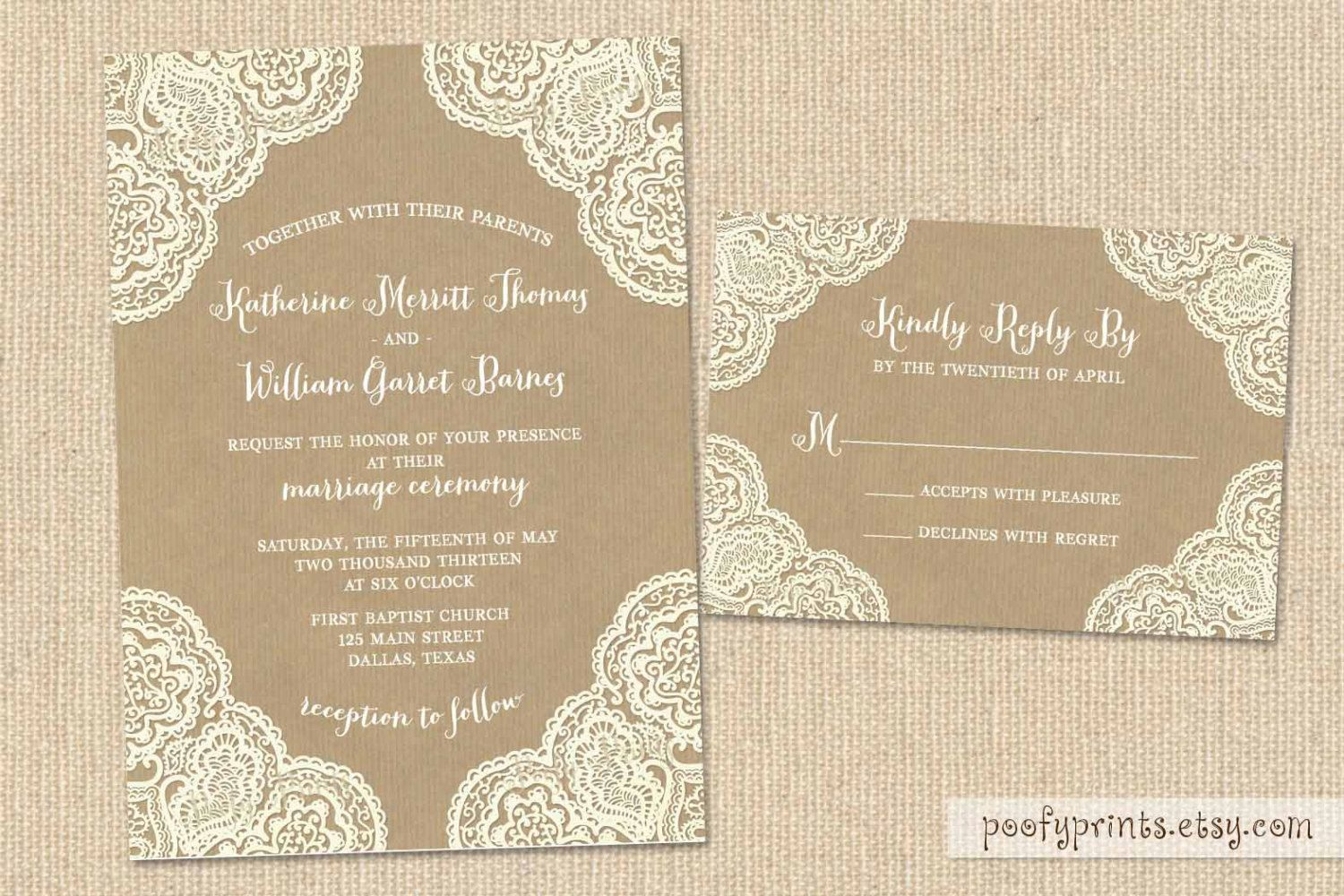 Rustic Lace Wedding Invitation Suite With Kraft Paper Background