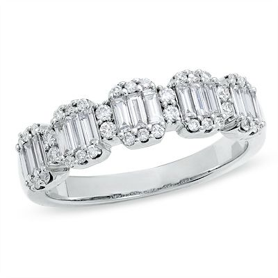 3 4 Ct T W Baguette And Round Diamond Band In 14k White