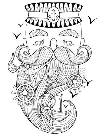 Vector Zentangle Old Sailor Smoking A Pipe Captain Fisherman De Stock