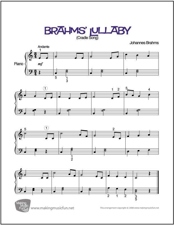 Brahms' Lullaby | Sheet Music for Easy Piano (Digital Print) http ...