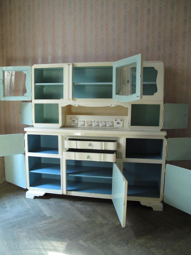 Küchenbuffet 50er Art Deco Weiß Hellblau Art deco, Diy design - küchenbuffet weiß antik