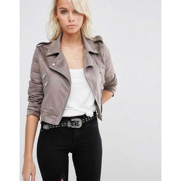 64b1e4379 ASOS Faux Suede Biker Jacket (€67) ❤ liked on Polyvore featuring ...