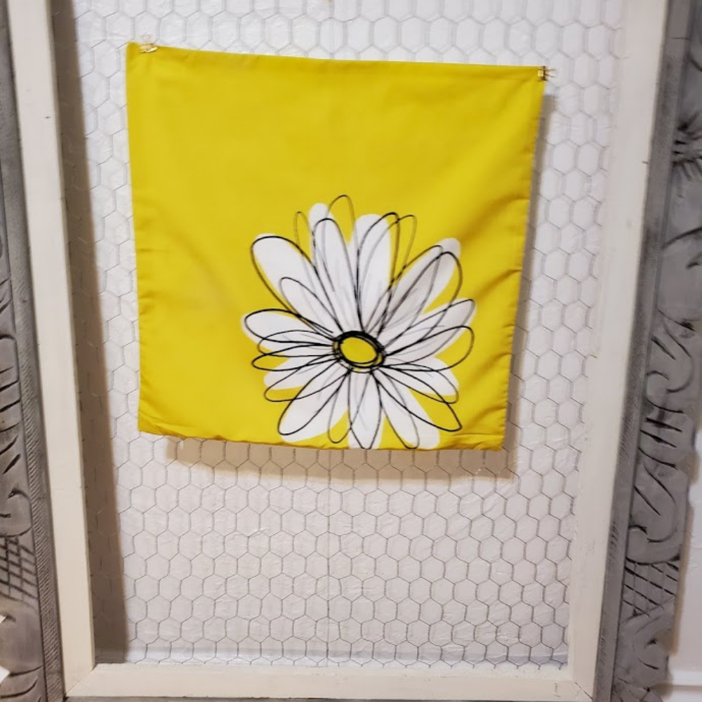 Photo of New Bright Bold Yellow With A Daisy. Hidden Zipper Pillow Cover Size 18x18in. w/wo Insert. – Without Insert