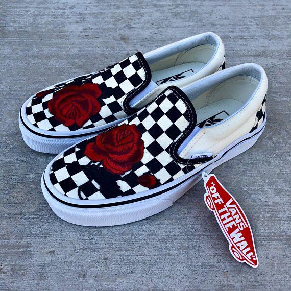 a381388d5c5c Vans slip on checkered vans custom vans embroidered vans