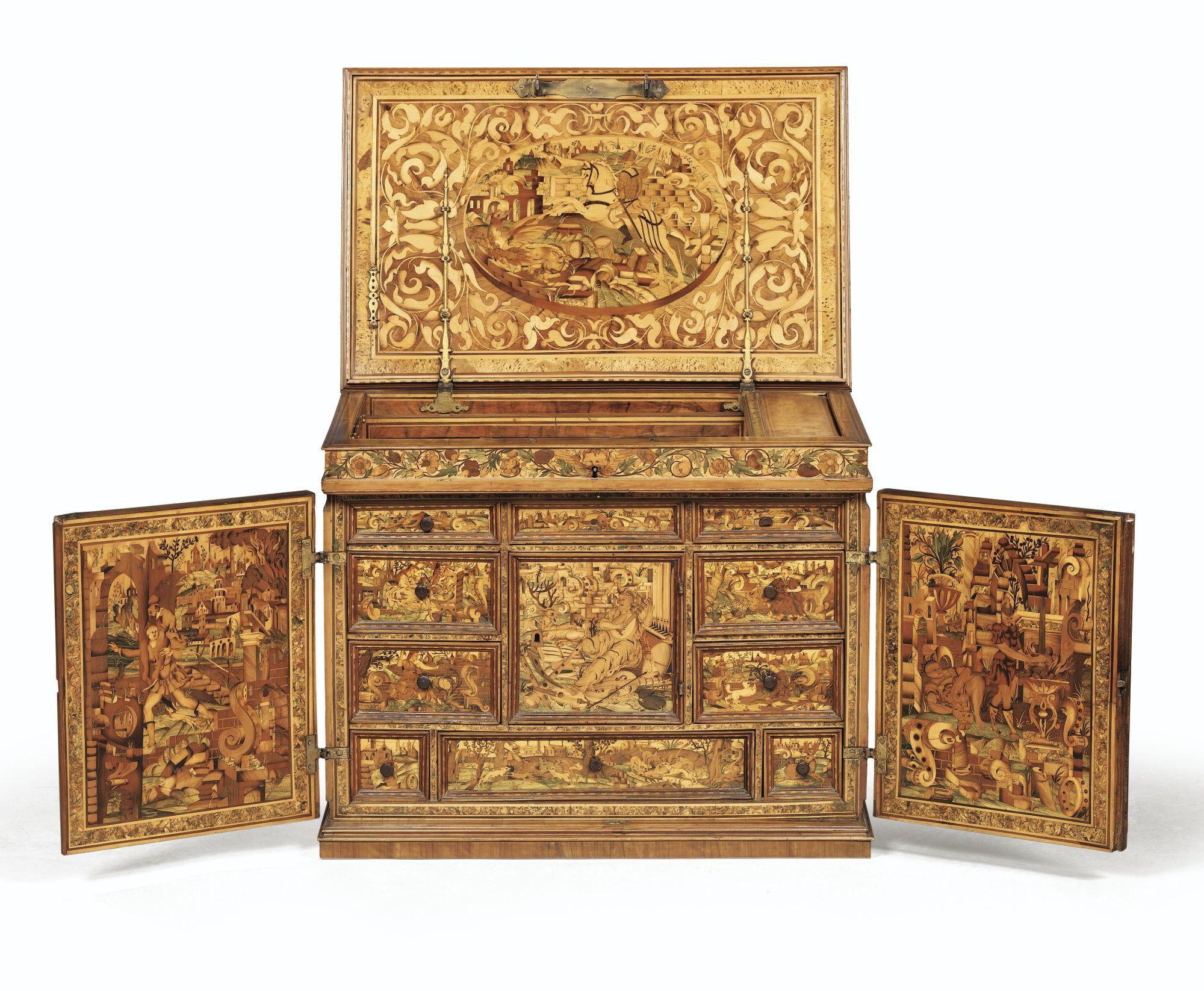 cabinet en marqueterie de bois fruitiers allemagne du sud xviie si cle lot sotheby 39 s. Black Bedroom Furniture Sets. Home Design Ideas