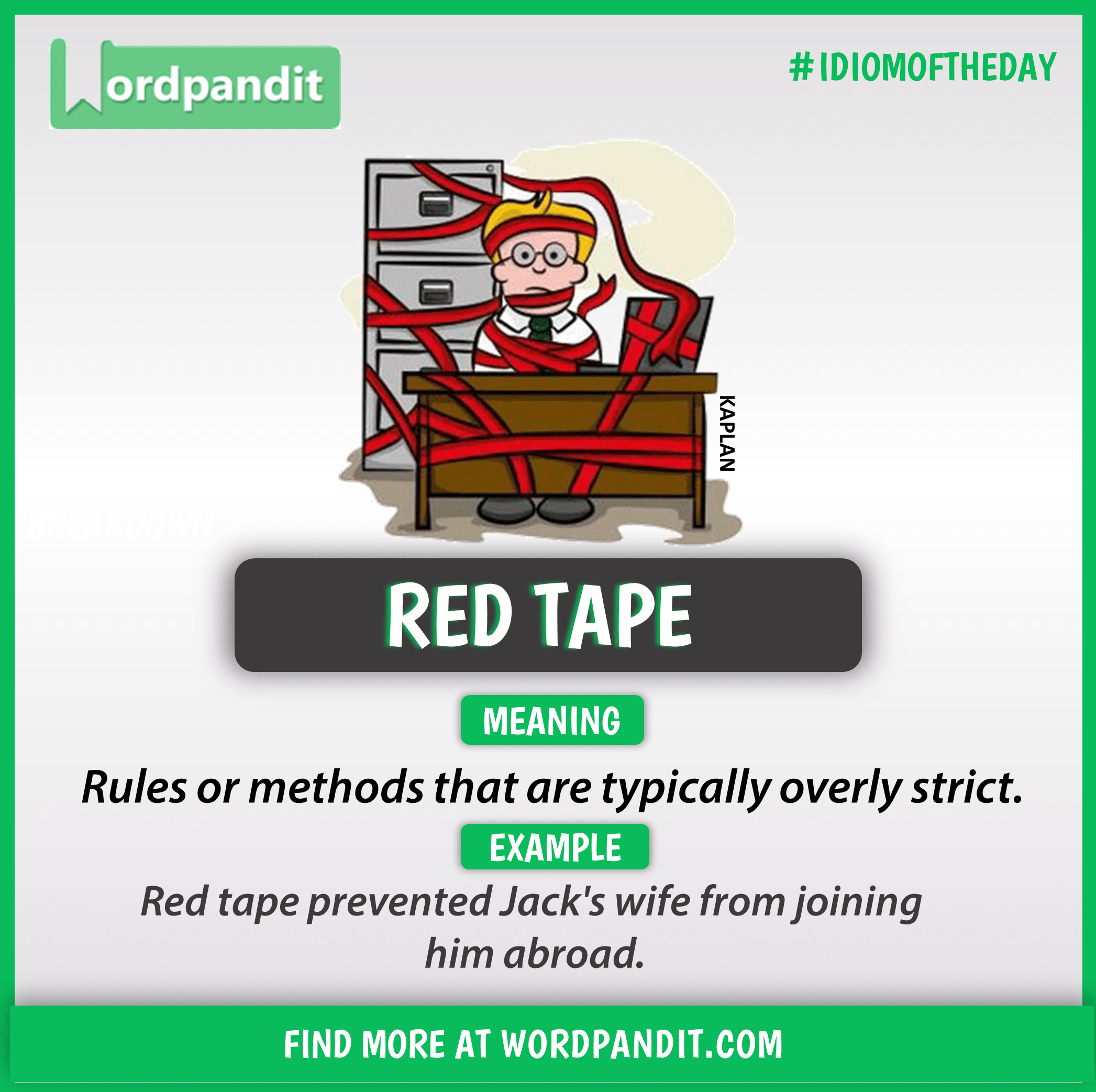Idiom of the day: Red Tape | Vocabulary | Idioms, English ...