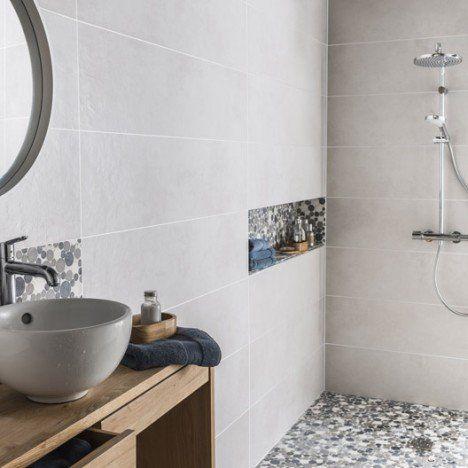 Carrelage sol et mur blanc, Austin l30 x L120 cm Déco  Salle de