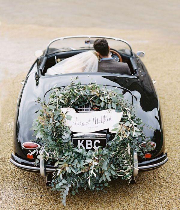wedding car with branch decoration