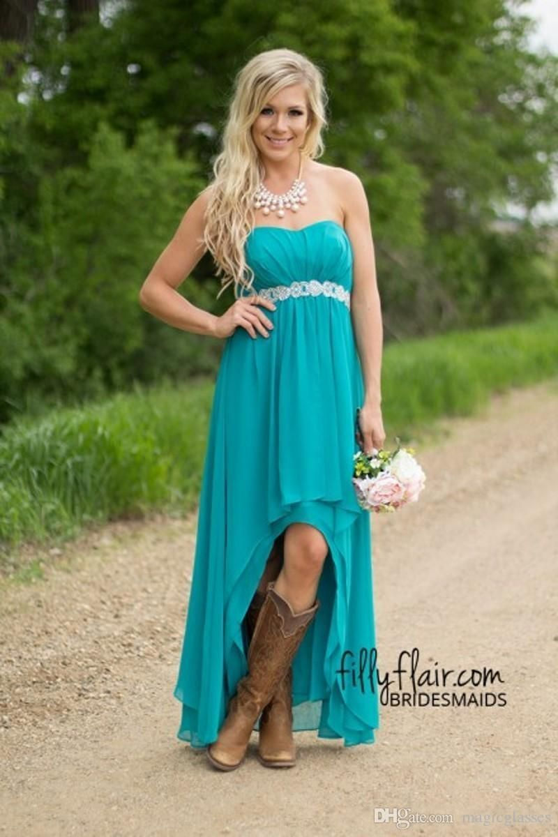 Modest teal turquoise bridesmaid dresses cheap high low country