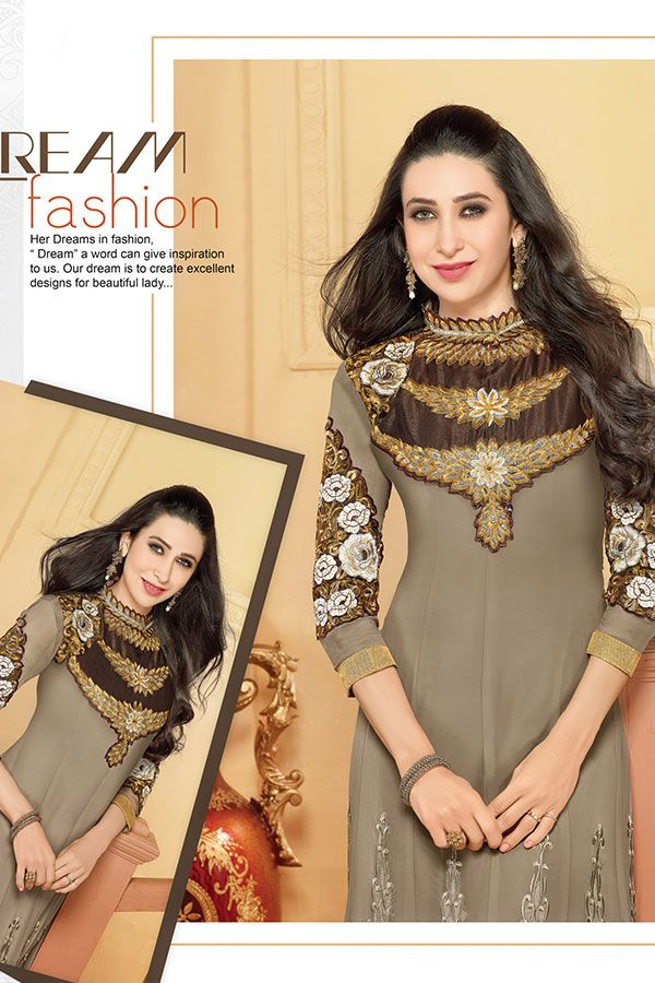 Indian wear bollywood style Amazing Karishma Kapoor Taupe Anarkali ...