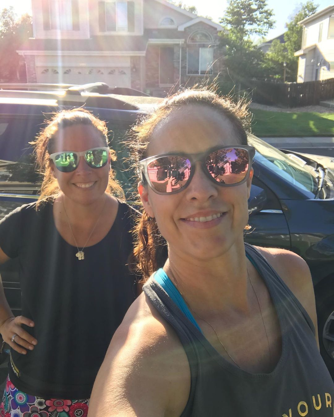 """Don't think just go out and run. "" 87° out, just drank a Dutch Bros , don't have my run clothes on, haven't eaten since the cupcake for breakfast ????????‍♀️????????????. But yep let's bust out 3 miles on the week we are supposed to do nothing ????????????‍♀️ clearly we don't ever follow directions ????????????. Marathon training run 27 done. Total training miles so far 198. #myrunningbuddies #marathontraining #yesican #goals #girltribe #girlswhorun #noexcusesnoregret #dutchbros"