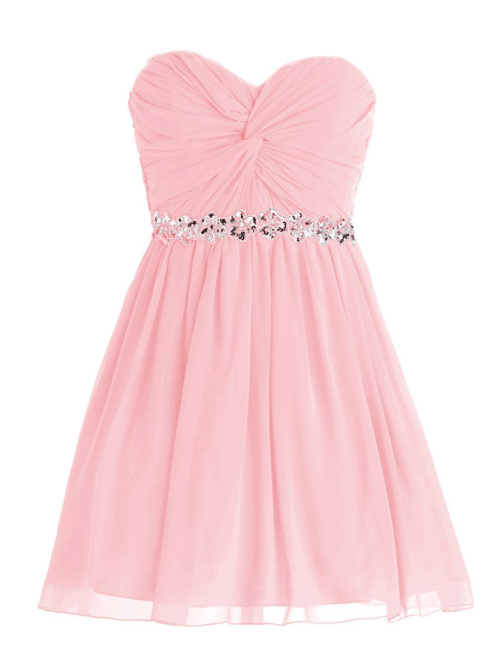 Amazon.com: Dressystar Short Chiffon Bridesmaid Dresses Strapless Girls Prom Gowns: Clothing