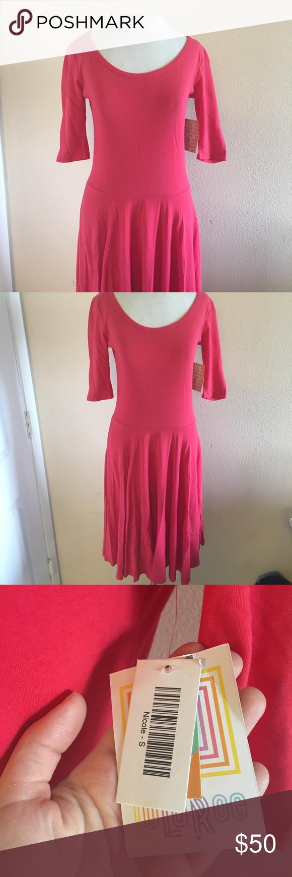 Lularoe nicole dress pinkred nicole dress new with tags questions