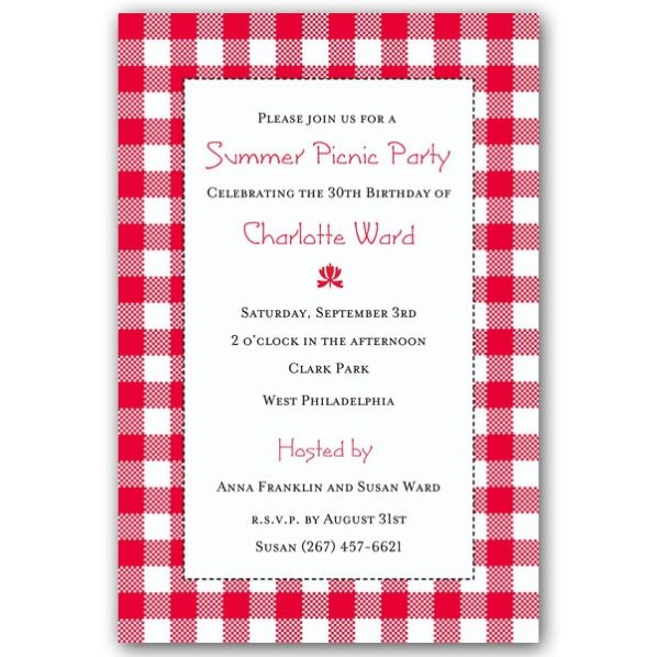 Blanket Pattern Picnic Party Red Invitations wedding Pinterest - bbq invitation template