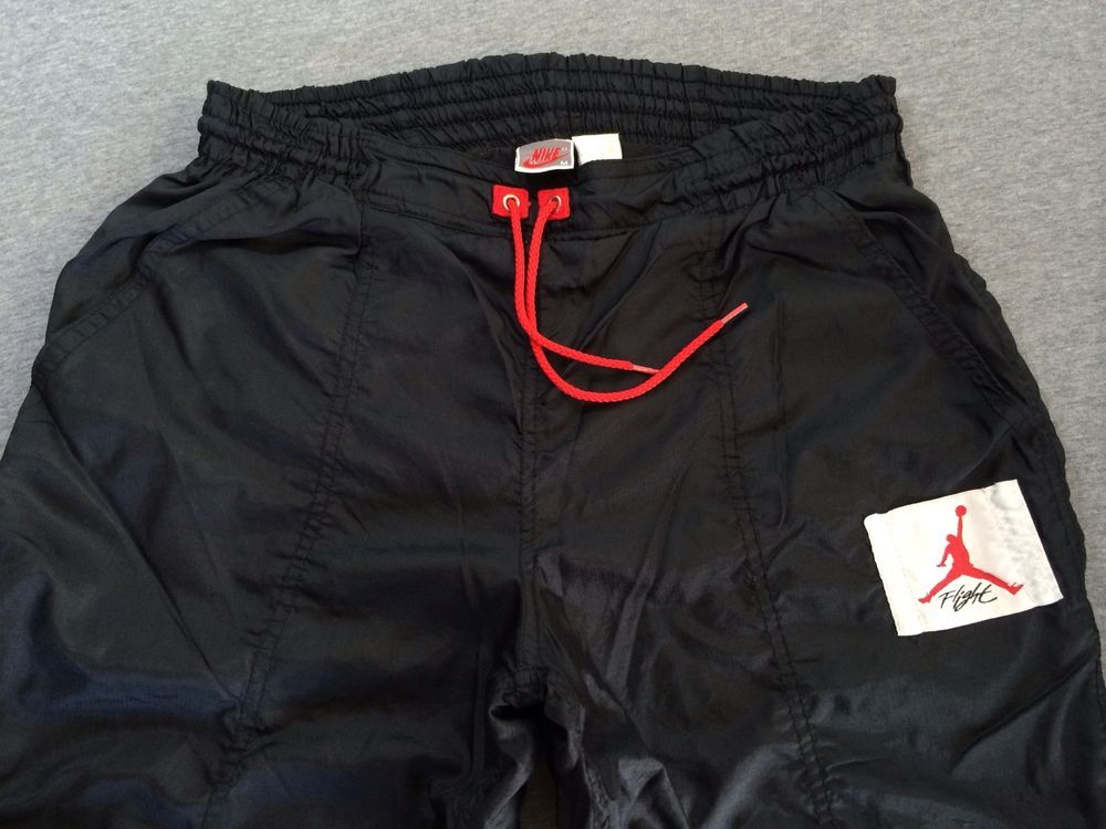 68a7cd51ed4 Vtg NIKE Air JORDAN 80's ORIGINAL Jumpman Warm Up Flight Suit Pants 4 IV  Black M