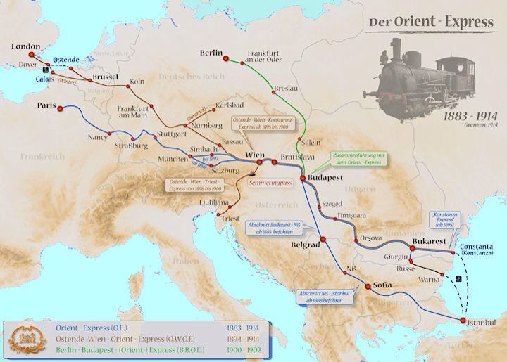 Eastern And Western Maps Of The Complete Orient Express System Wien Bratislava Budapest Bratislava