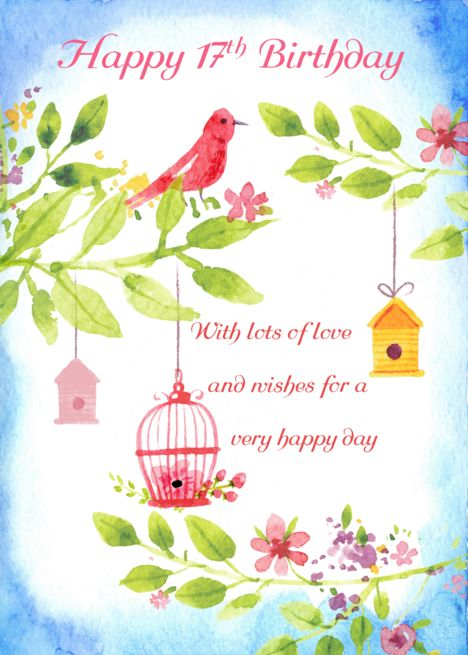17th Birthday Little Birds With leaves and flowers, cute watercolor card #17thbirthday