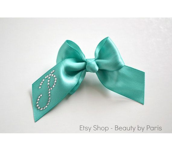 Rhinestone Initial Boutique Dog Bow -You choose  Ribbon color! by BeautybyParis