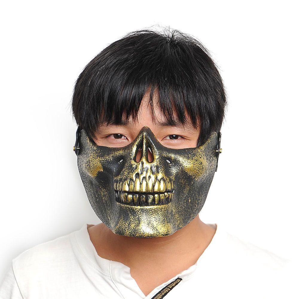 Outdoor Half Face Mask Skull Bone Airsoft Hunting War Protect ...
