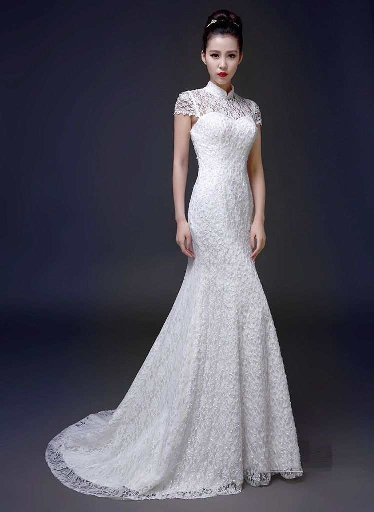 Lace & Tulle Trumpet Chinese Wedding Gown | Wedding Qipao ...