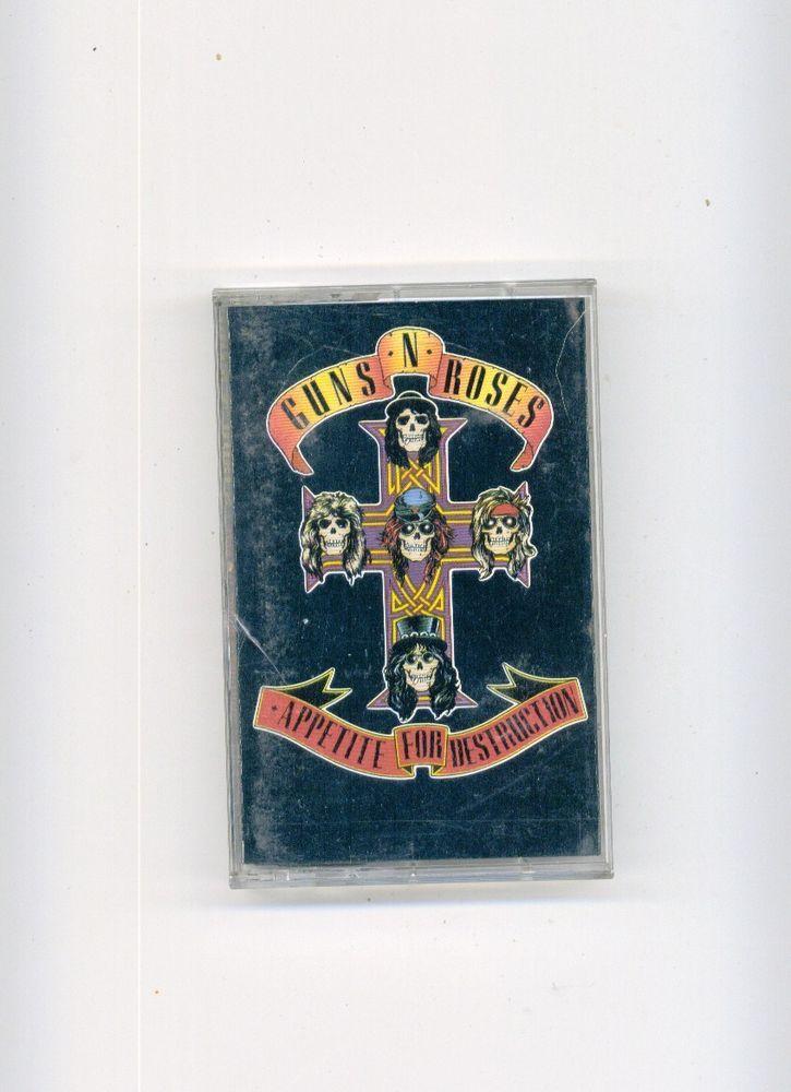 GUNS N ROSES : APPETITE FOR DESTRUCTION Original Art Cassette Tape Free S/H USA! #Rock