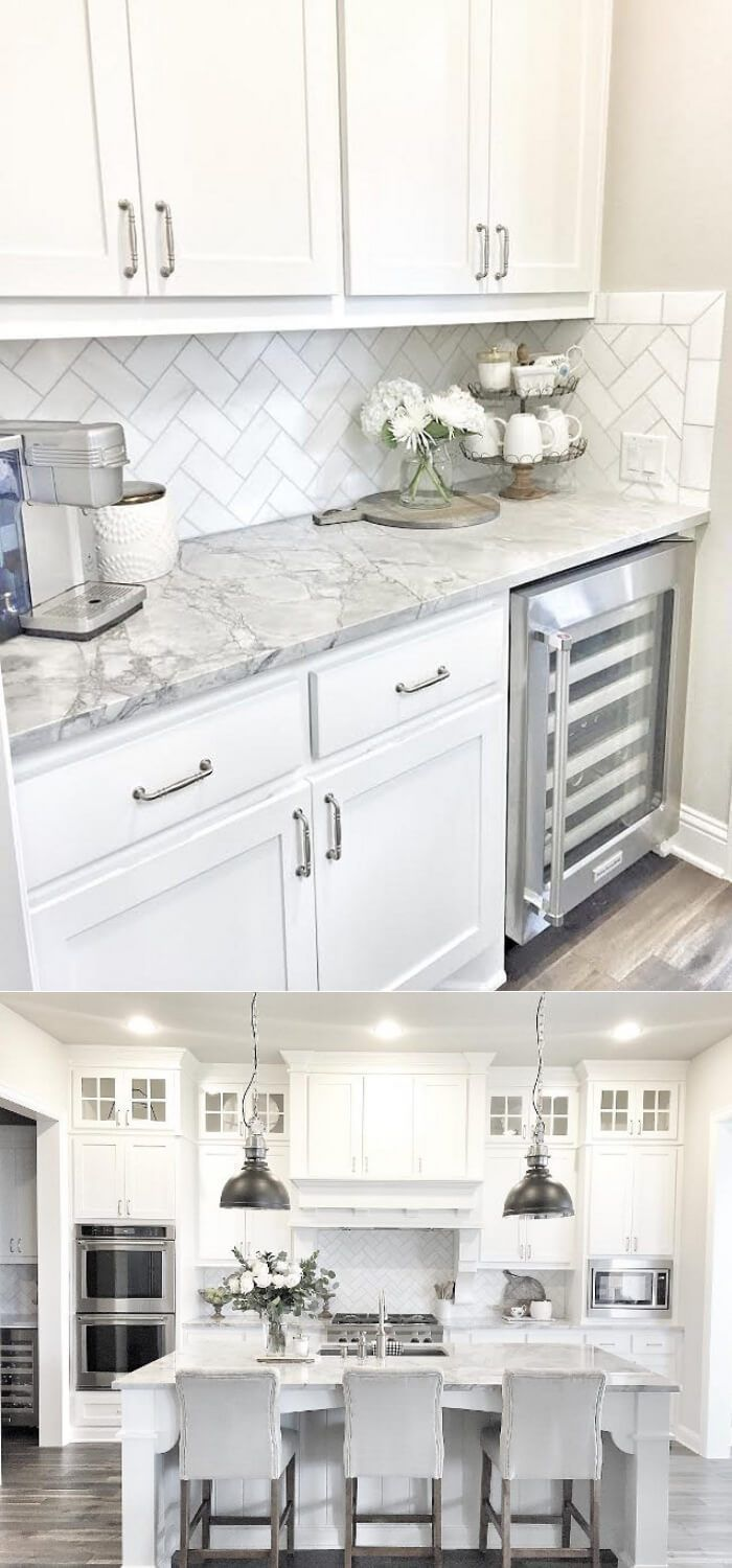 Butlers Pantry With Herringbone Backsplash Tile Best White Kitchen Cabinet Decor Ideas Kitch White Kitchen Design Kitchen Cabinets Decor Diy Kitchen Remodel