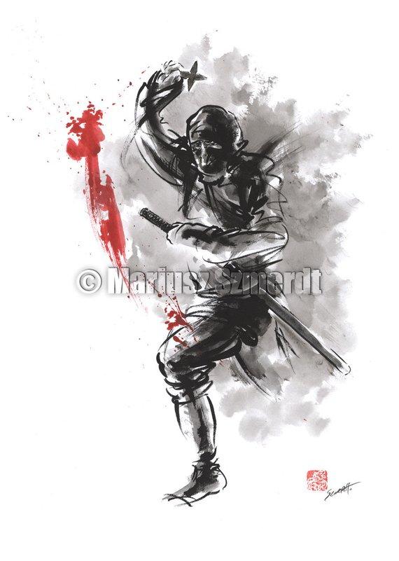 Ninja Japanese Sword Ninja Art Ninja Poster Japanese Warrior