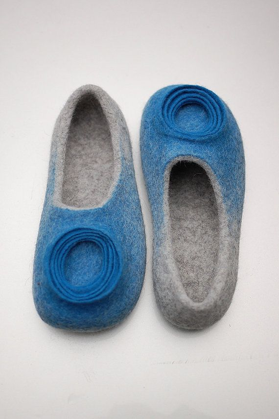 Women Felt Wool Slippers luxury Woolen House Shoes by MusiuMuse