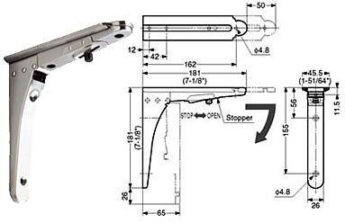 Sugatsune Bos 180 7 1 8 181mm Folding Shelf Bracket With Stopper Each Satin Stainless Steel The Hardware Hut Folding Shelf Bracket Shelf Brackets Shelves