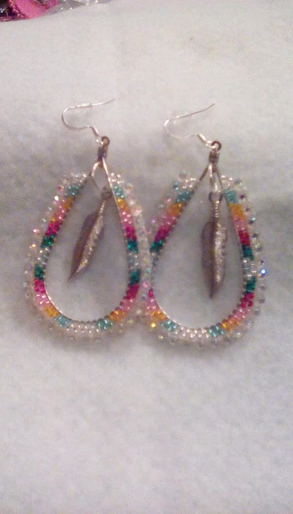 Native American beaded hoop earrings seed beads handmade