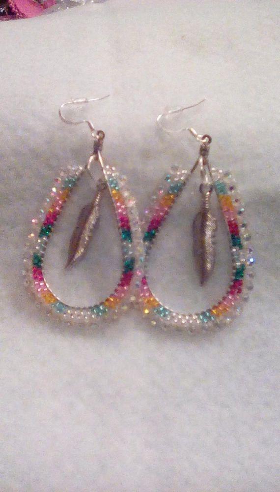 Native American Beaded Hoop Earrings Seed Beads Handmade