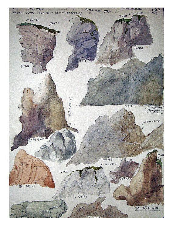 vintage watercolor study of rock