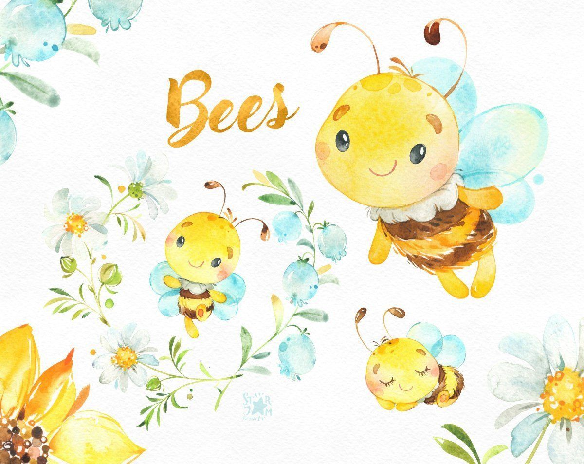 Pin By Magicalcat99 On Bees Watercolor Animals Animal Clipart