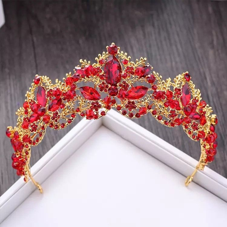 Baroque Luxury Red Crystal Bridal Crown Tiaras Vintage Gold Diadem Tiaras for Women Bride Wedding Hair Accessorie,wedding dress,bridal tiara