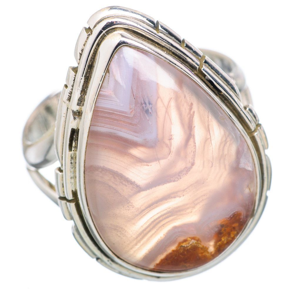 Botswana Agate 925 Sterling Silver Ring Size 6.75 RING720724