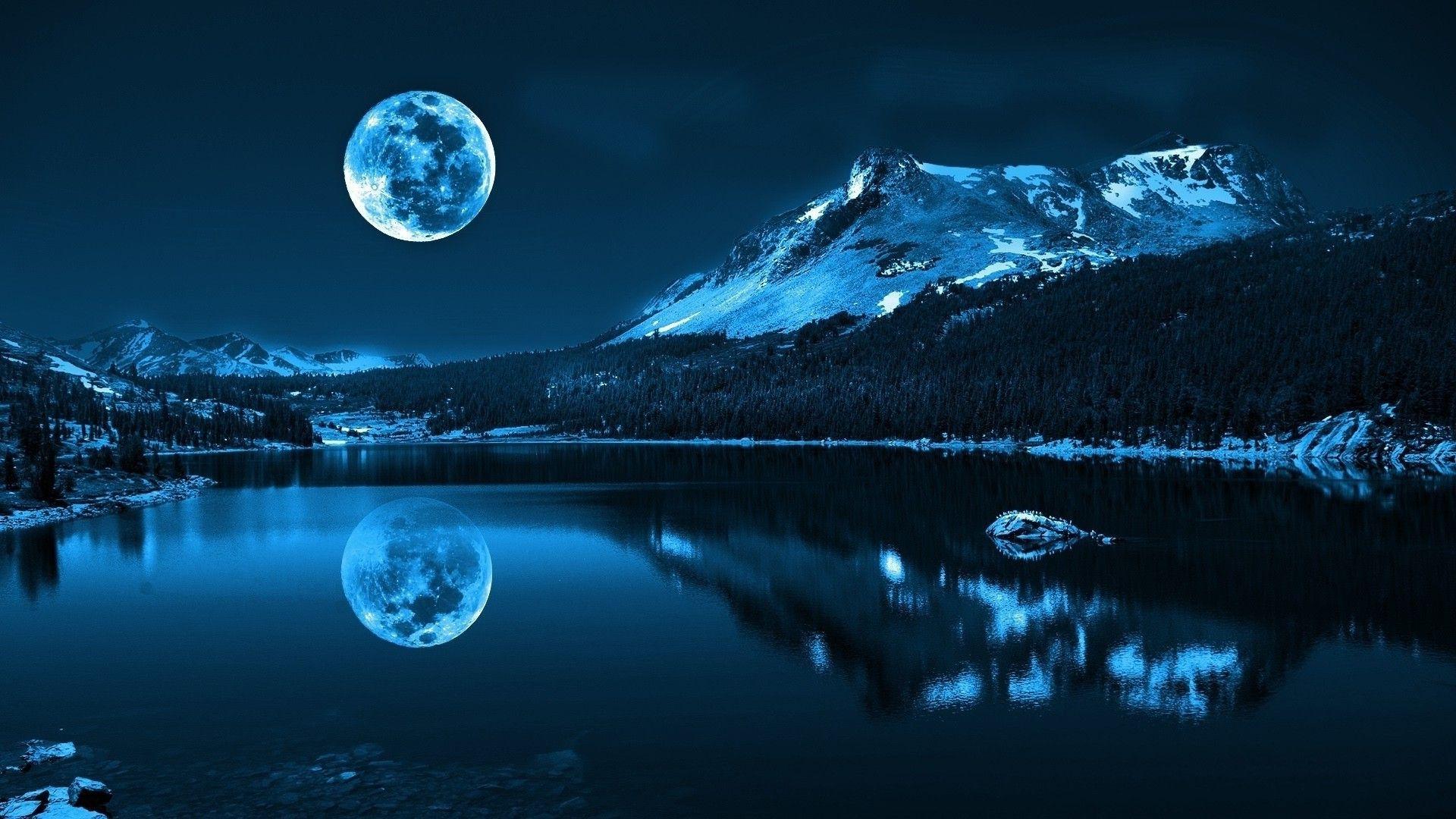 blue moon landscape wallpaper picture wallpaper fond d écran