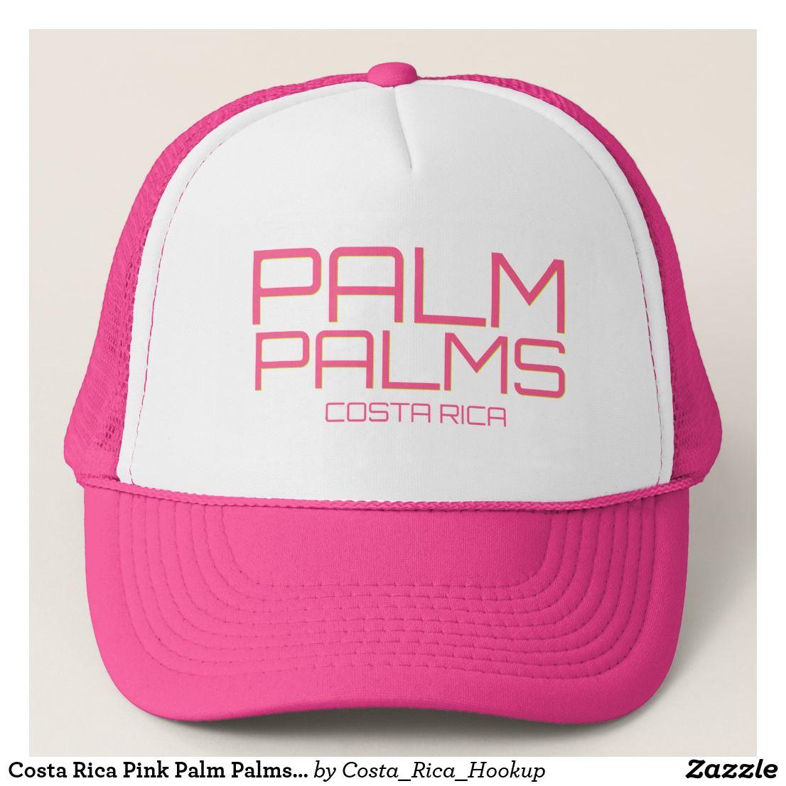 Costa Rica Pink Palm Palms Beach Souvenir Trucker Hat  c89ca85b02f4