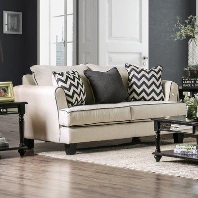 Brayden Studio Pelfrey Loveseat Love Seat Furniture Of America White Fabric Sofa