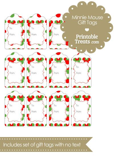 Minnie Mouse Christmas Gift Tags from PrintableTreats.com ...