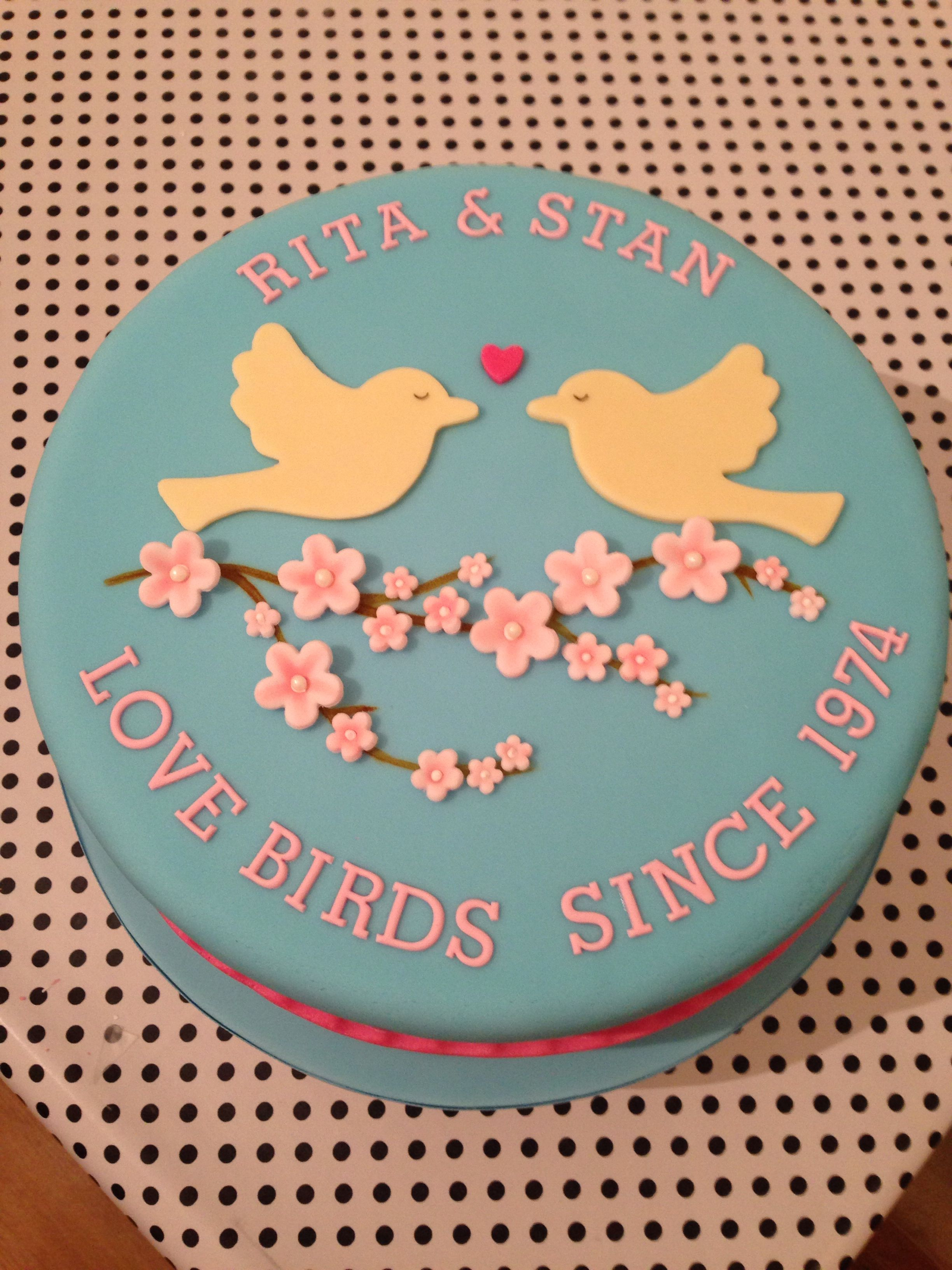40th Wedding Anniversary Cake Love Birds
