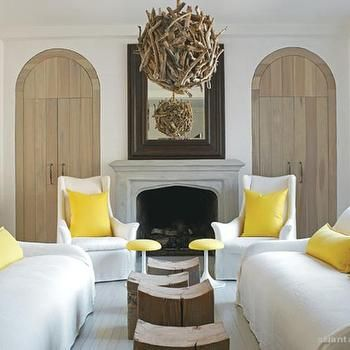 Ccanary Yellow pillow s- Cottage, living room, Atlanta Homes & Lifestyles