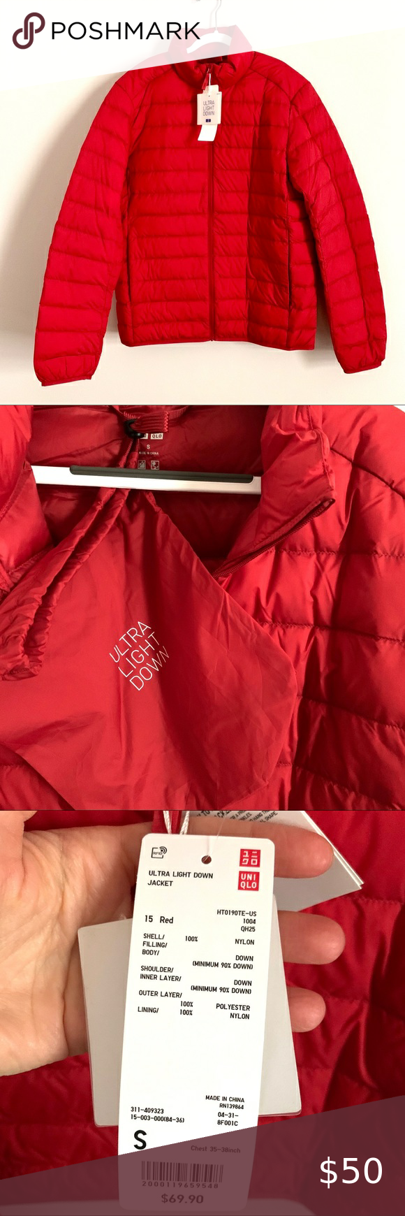 Uniqlo ultra light packable red down puffer jacket in 2020