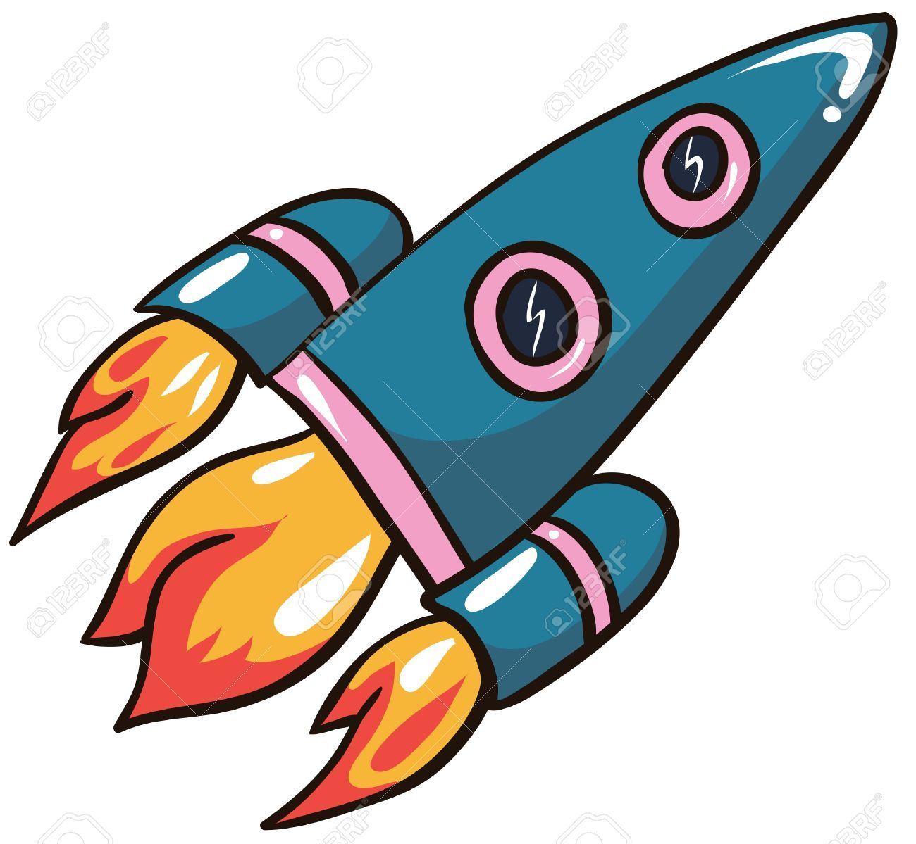 illustration cartoon rocket on white background royalty