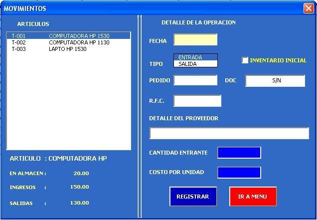 Sistema Control De Almacen En Excel Valuación Costo Método Promedio 2017 Libros De Informatica Hojas De Cálculo Administracion De Almacenes