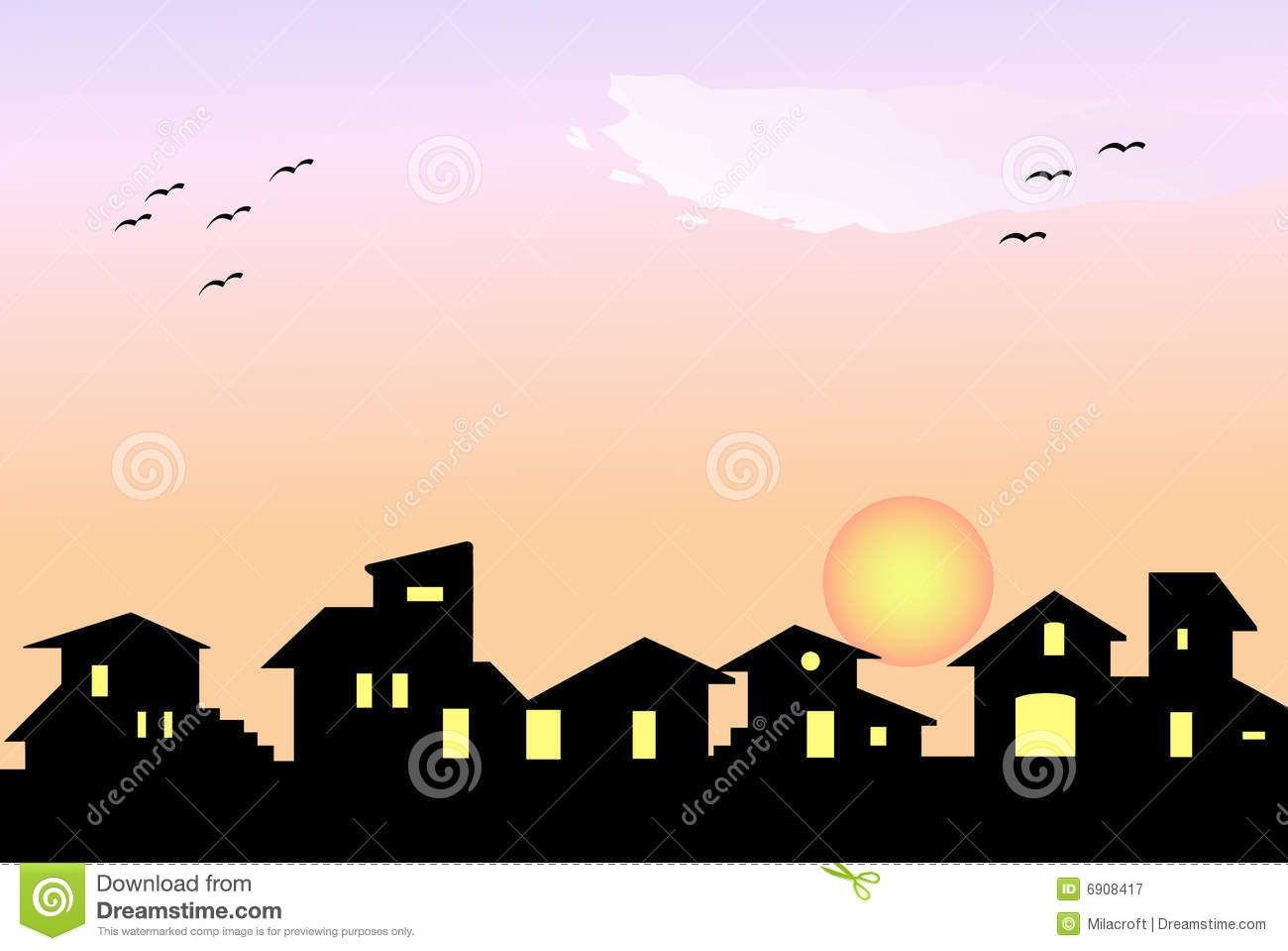 Little Village Silhouette House Silhouette Stock Photography Free Silhouette Vector