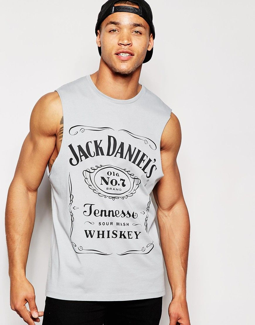 cd8513e0ee5 ASOS Sleeveless T-Shirt With Jack Daniels Print